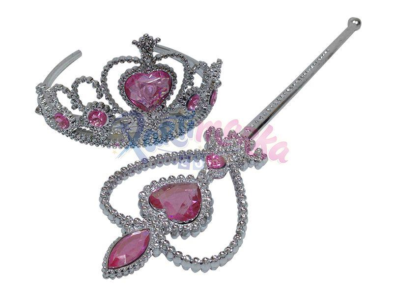 Prenses Taç Asa Set Pembe