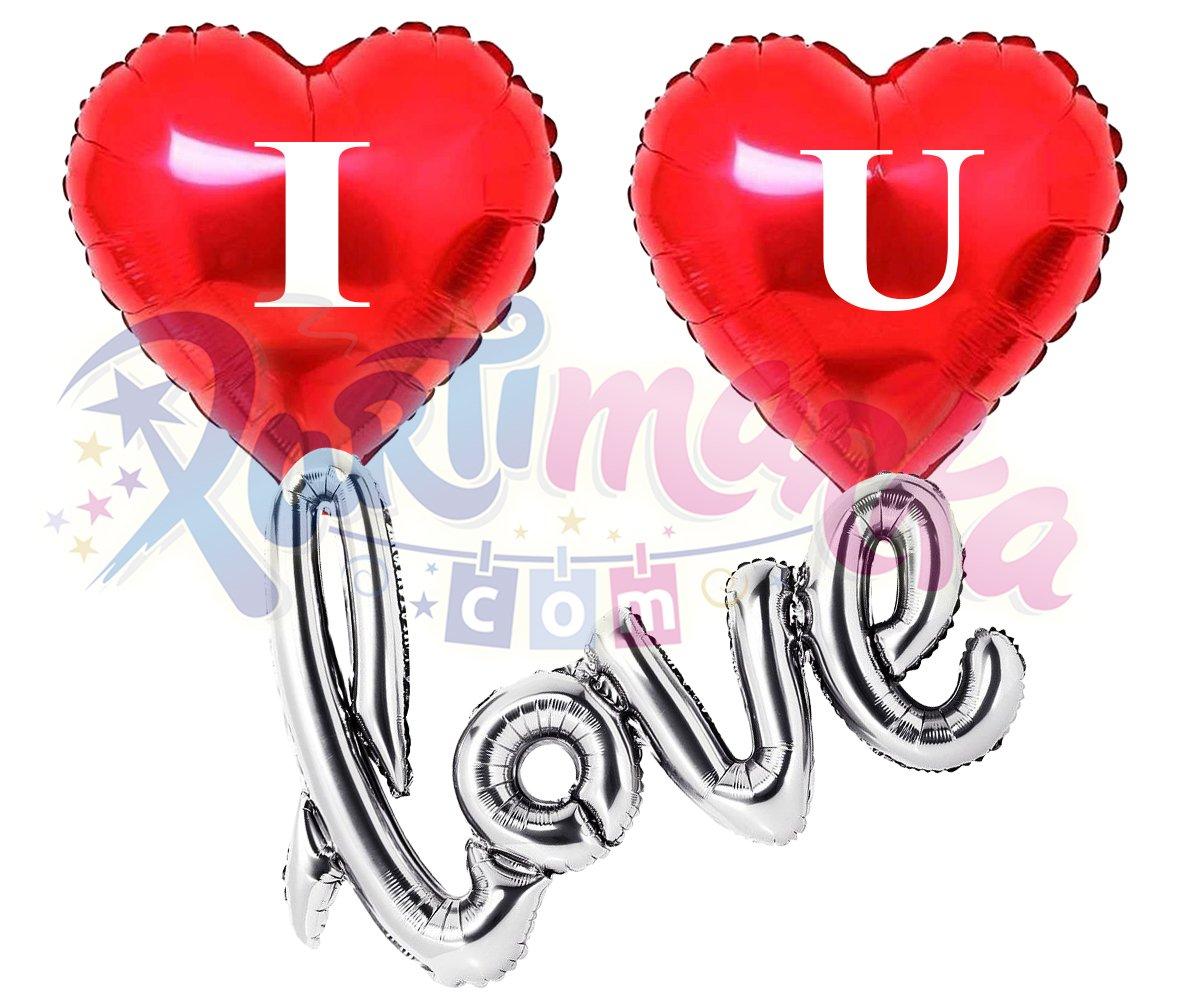 Kirmizi Kalp Balon Seti Folyo Balonlar Partimarka Kalpli Love