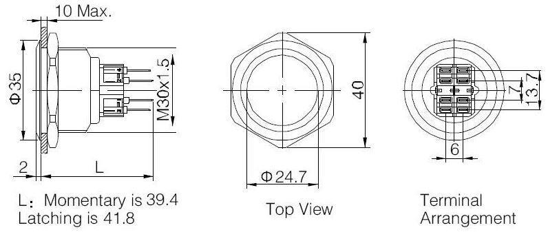 Onpow GQ30-11 Buton 30mm Metal Işıksız Su Geçirmez IP65 I