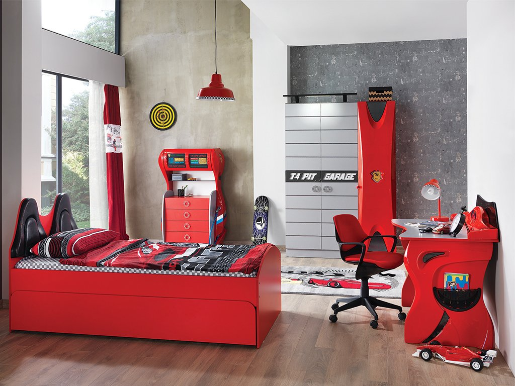 Garage Set Kirmizi Cocuk Odasi Takimi