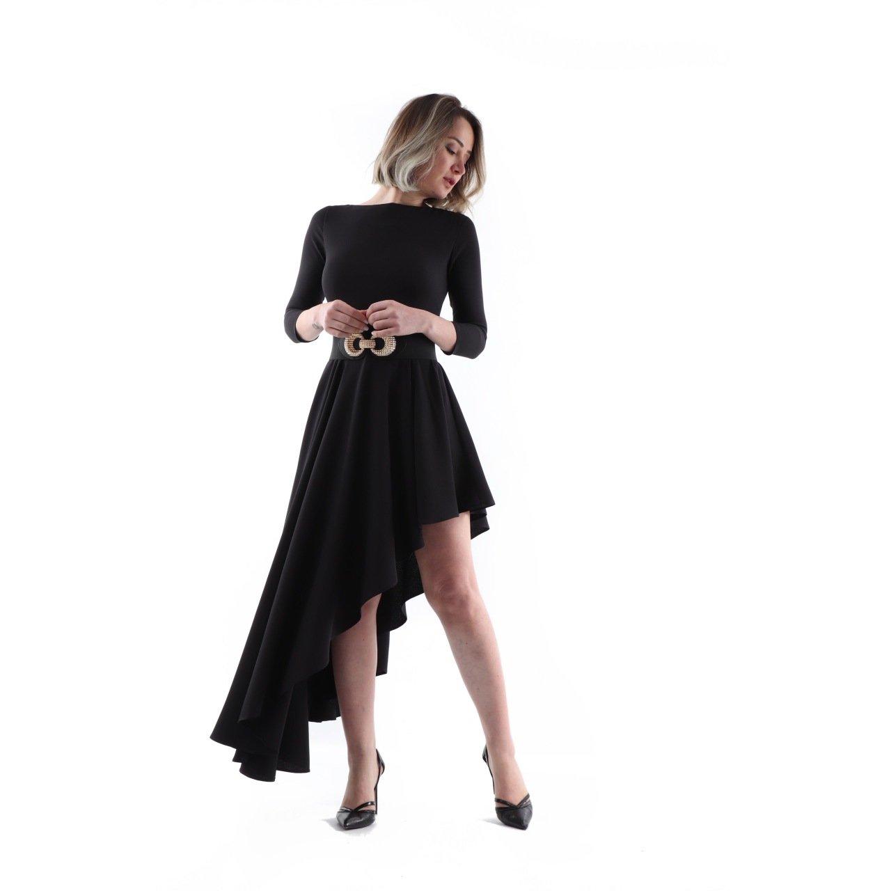 d5bfc0c9a8753 Siyah Kayık Yaka Uzun Kol Asimetrik Elbise