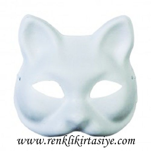Karton Maske Kedi Lastikli