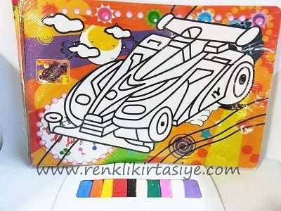 Renkli Kum Boyama Yarış Arabası