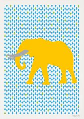 Elephant Yellow Poster