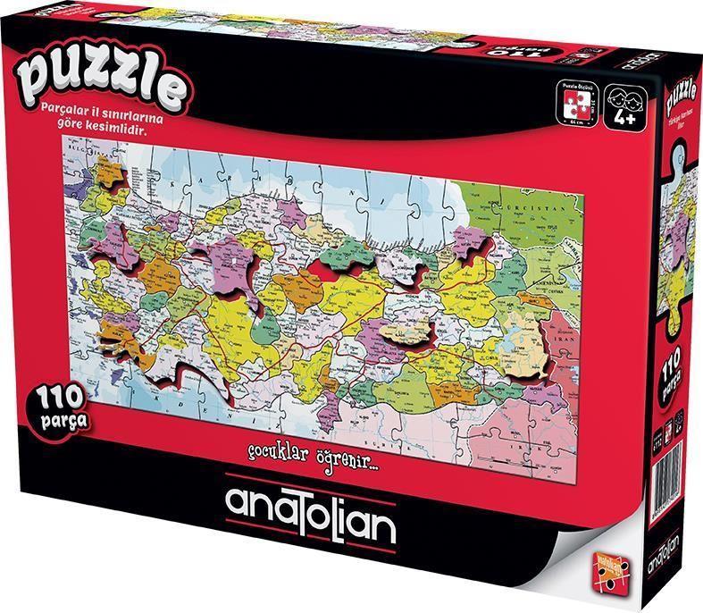 7401 Anatolian Puzzle Türkiye Iller Haritası 110 Parça Karton Puzzle