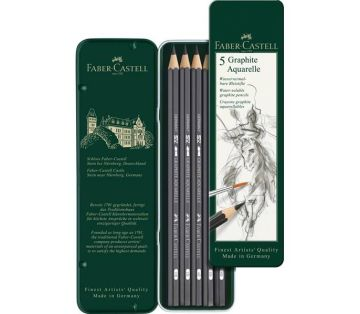 Faber Castell Graphite Aquarelle Suda Çözünür Çizim Kalemi 5'li Metal Kutu