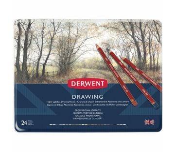 Derwent Drawing Pencils Renkli Çizim Kalemi Seti 24'lü Teneke Kutu