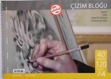 Talens Spiralli Çizim Bloğu Eskiz Çizim Defteri A4 120 gr 40 Sayfa