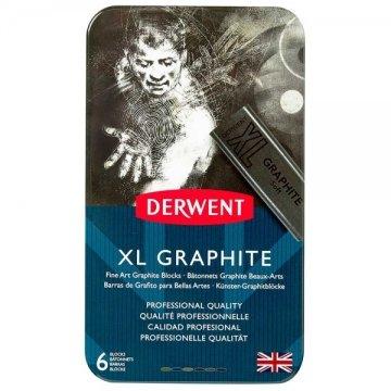 Derwent XL Graphite Block Kalın Grafit Füzen 6'lı Teneke Kutu
