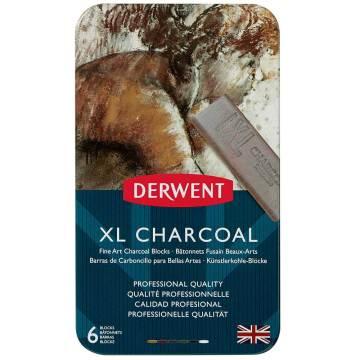 Derwent XL Charcoal Block Kalın Kömür Füzen 6'lı Teneke Kutu