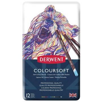 Derwent Coloursoft Kuru Boya Kalemi Metal Kutu 12'li
