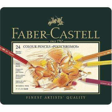 Faber Castell Polychromos Kuru Boya Kalemi Metal Kutu 24'lü