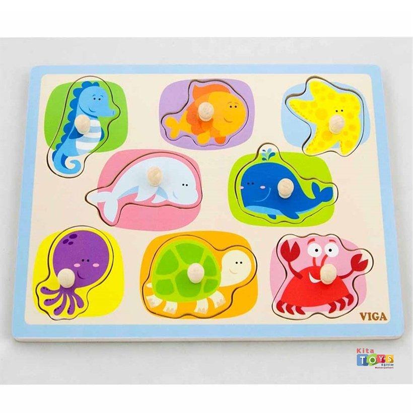 Deniz Hayvanlari Puzzle Tutmali Okul Oncesi Oyuncak Kitatoys Da