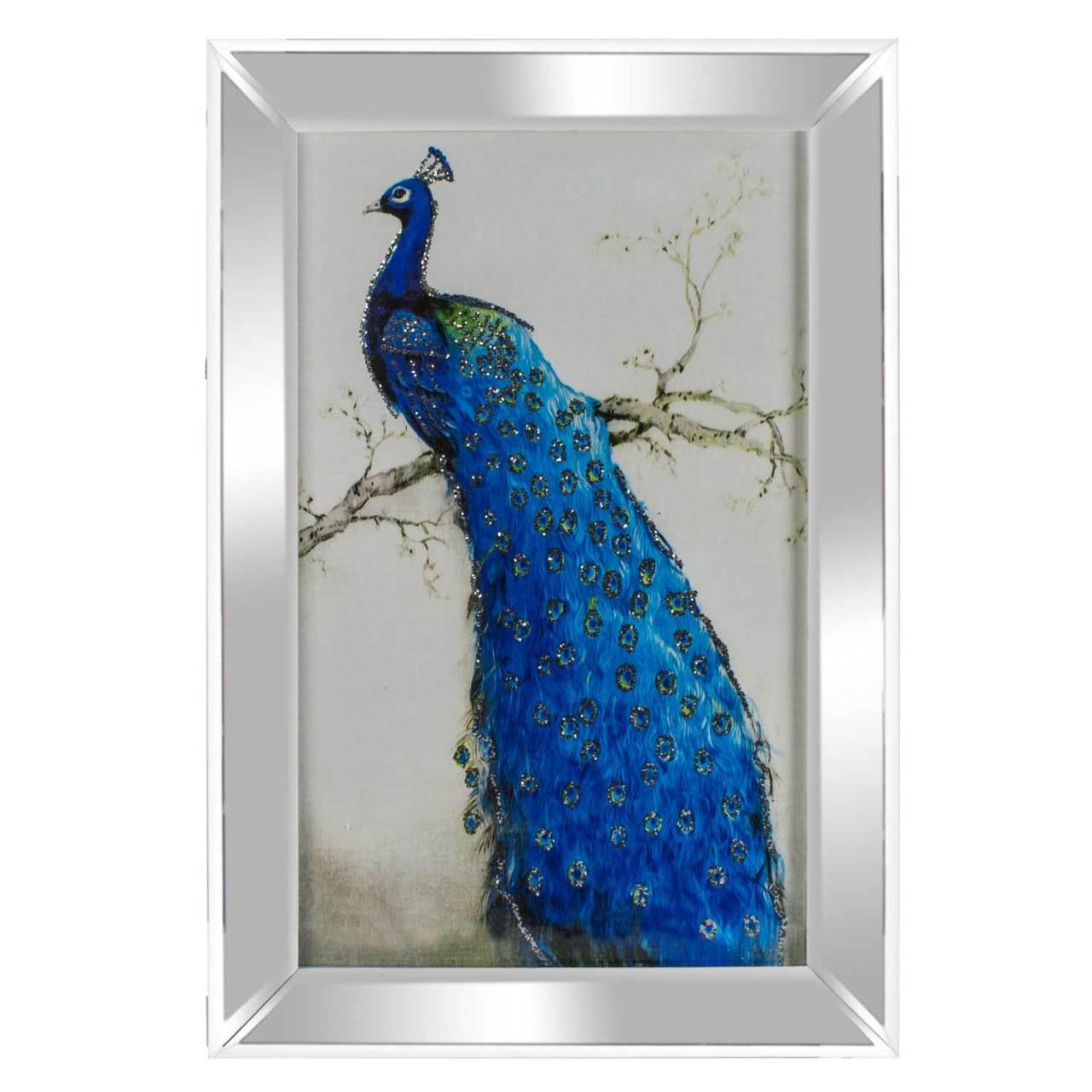 Euro Flora Ayna Cerceveli Tavus Kusu Tablosu 40x60 Cm Kanvas