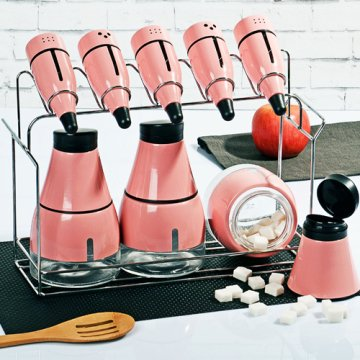 Kitchen World Dk-112 Metal Lüx 8'li Baharat Takımı Pembe