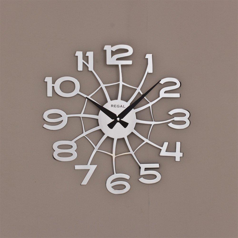 Regal 1158s Lazer Kesim örümcek Ağı Kromaj 39cm Duvar Saati