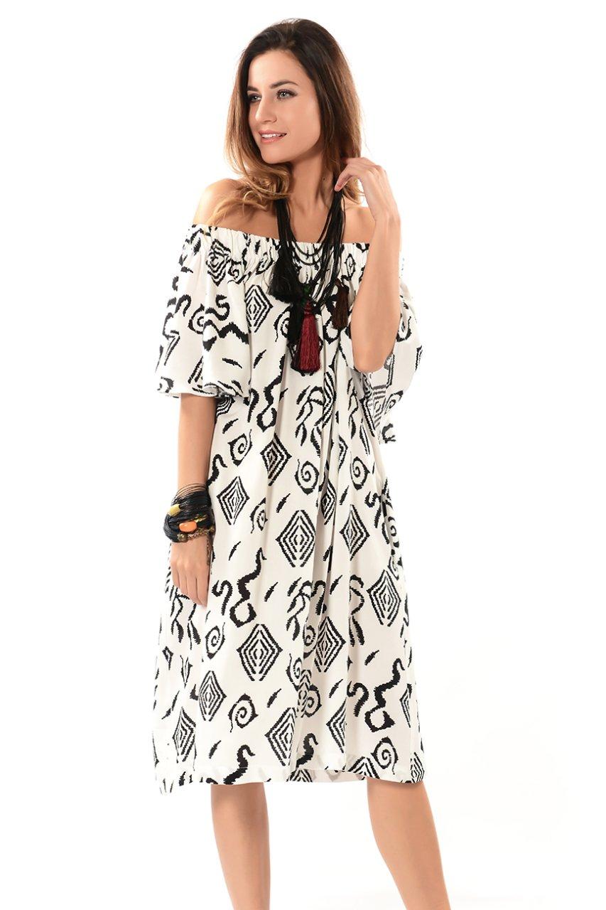 9d288ce3bef09 Etnik Seray Desenli Viskon Elbise - Siyah Beyaz