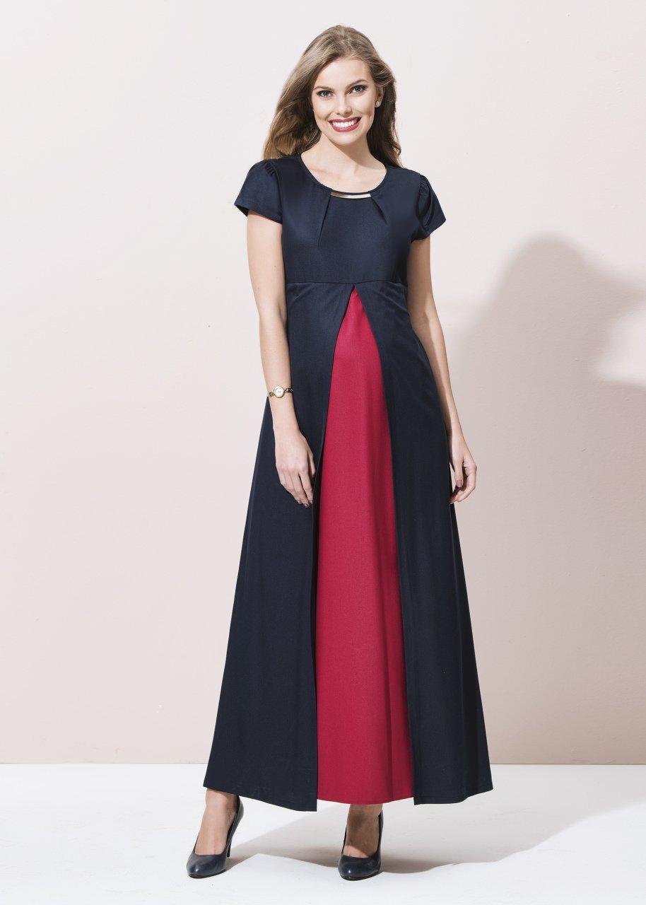 e3535876a9d8f Metal Aksesuarlı Kısa Kollu Uzun Hamile Elbise - Uzun Hamile Elbiseler