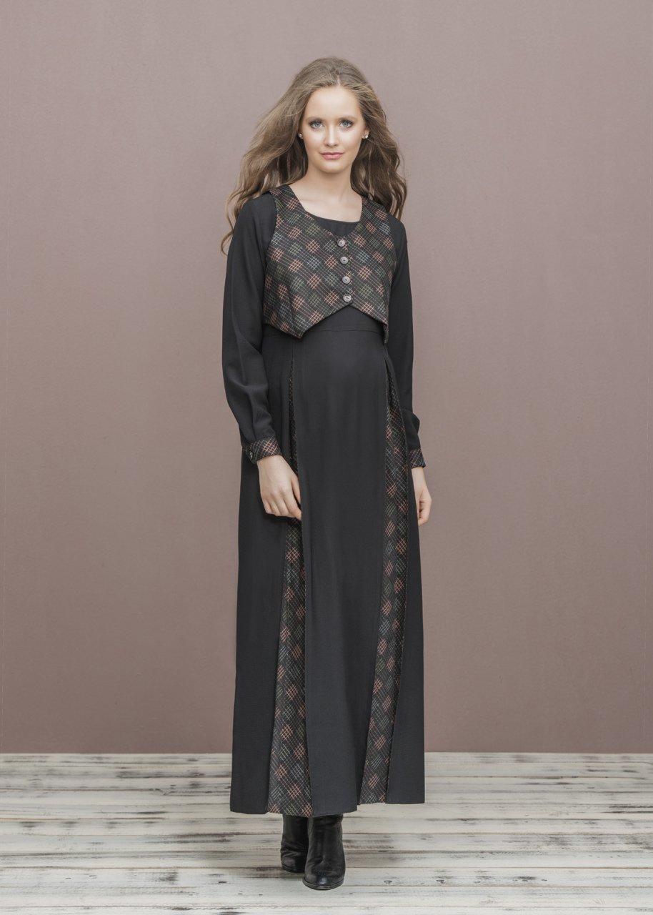 a30bc6378afa2 Yelek Detaylı Uzun Hamile Elbise - Uzun Hamile Elbiseler