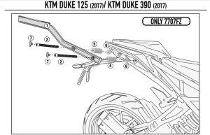 Givi 7707FZ Ktm Duke 125-390 (17-18) Arka Çanta Demiri