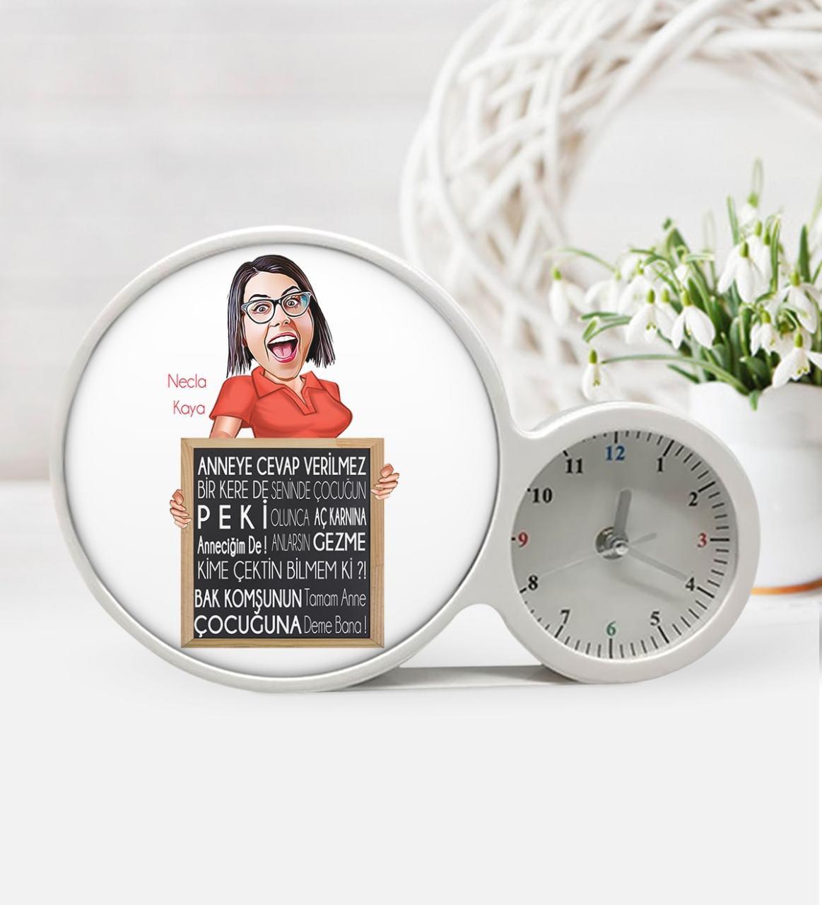 Kişiye Özel Anneler Günü Temalı Saatli Sihirli Led Ayna sla6